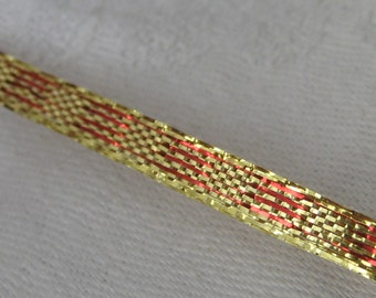 Spool of Gold Foil & Red Yardage Millinery Ribbon Trim