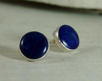 AAA Lapis Lazuli Post Earrings Sterling Silver Studs