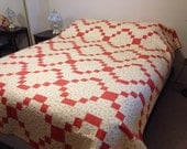 Orange Blossom Queen Bed Quilt - Queen Size Quilt - 79 x 94 - Full Double Size Quilted Bed Spread