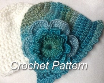 NEW Simple Baby Flower and  Baby Hat crochet pattern - Fast and Easy Baby Hat Instant Download
