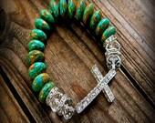 Rhinestone Cowgirl, Western Cowgirl southwestern Boho Mosaic Turquoise & Rhinestone Cross Stretch Bracelet- Rustic Country- Shabby Chic