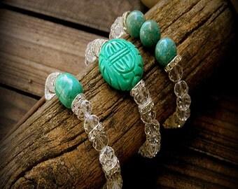 Crystal Cowgirl, Western Cowgirl Southwestern Boho Set Of Three Turquoise & Crystal Stacking Bracelets- Bohemain Stacking Bracelets