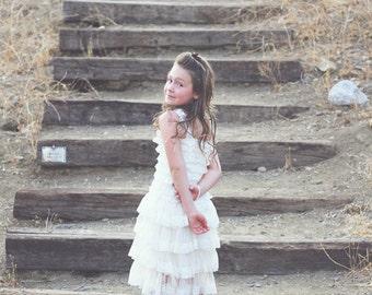 Flower Girl Dress~Baby Lace dress~Lace Flower Girl Dress~Rustic~Country Flower Girl~Lace Dress~Ivory Lace Dress~Bridesmaid~Vintage  Dress