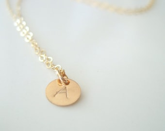 Gold filled personalized necklace 14k modern initial disc simple layer necklace monogram charm minimalist, gift for her, ready to ship
