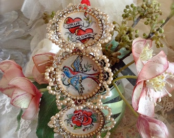 Lilygrace Tattoo True Love Watercolour Paintings Headband with Vintage Glass Pearls and Rhinestones