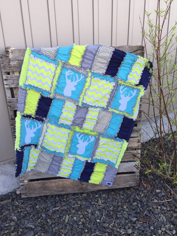 Green Deer Silouhette Rag Quilt for Baby Boy