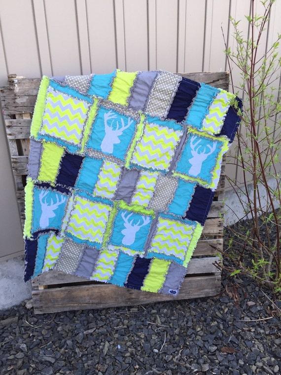 Green Deer Silouhette Rag Quilt For Baby Boy Buy It Now