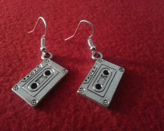 Cassette tape, Earrings, 1980, tape earrings