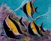 Moorish Idol Trio Reverse Acrylic Painting by Marionette from Kauai Hawaii blue turquoise gold yellow