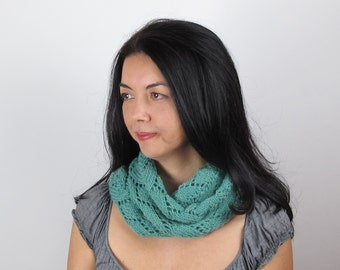 Infinity Scarf Green Lace Sea Foam Green Merino Wool Hand Knit Woman's Green Infinity Scarf