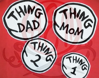 Aunt thing 1 and thing 2 iron on patch