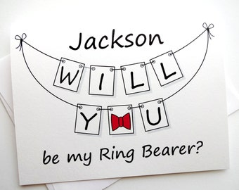 Will You Be My Ring Bearer Card - Personalized Pennant Design