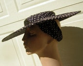 Cartwheel Picture Hat BIG Navy Blue Woven Straw Saucer Polka Dot Band 1930s Vintage Vamp & Not Shy at All