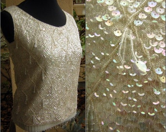 """Vintage 60s Sequin Glass Bead Encrusted Top - GoGo Girl or Mad Men Cocktail Party - Bust 40"""""""