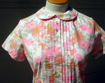 Vintage 60s Summer Cotton Pink Floral Dress - Lady Bird New Old Stock - Medium