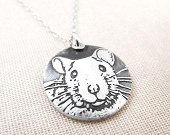 Rat necklace, silver pet rat jewelry, fancy rat, memorial necklace, rat remembrance jewelry