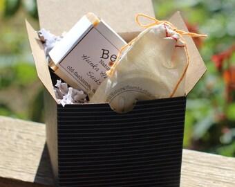 Bearded Man Gift // large bar natural soap, beard balm, wrapped for gifting, artisan gift
