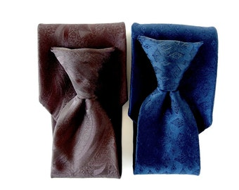 2 Vintage 1980's Wide Clip On Ties - Navy Blue and Brown