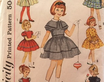 Vintage 50s 60s Girl's 7 Day Wardrobe Party Caplet Jumper Puff Sleeve Dress Sewing Pattern 4586 Size 5