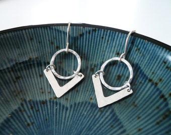 Geometric Earrings in Sterling Silver - Hammered Sterling Silver Circle and Triangle Earrings - Tribal Boho Chevron Earrings