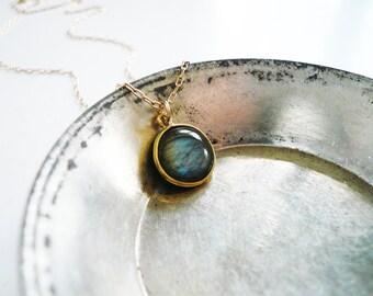 Labradorite Necklace in Gold - Dainty Everyday Bezel Gemstone and 14K Gold Filled Labradorite Necklace