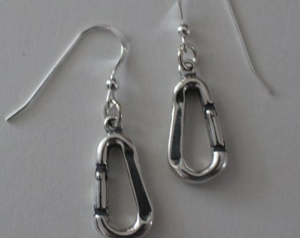 Sterling Silver 3d CARABINER Earrings - Camping, Rock Climbing, Outdoor Sports