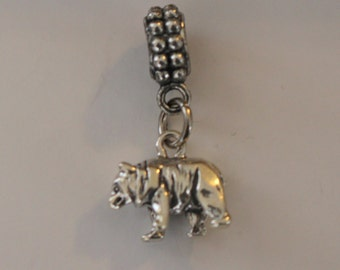 Sterling 3d BROWN BEAR  Bead Charm fits  All Name Brand Add a Bead Charm Bracelets- Wildlife, Totem