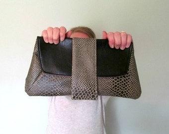 Christina Clutch  //  Vegan Leather Clutch  //  Snap Flap Large Clutch