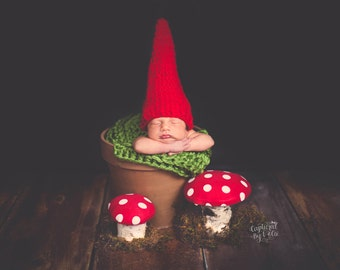 Baby Hat, Newborn Hat, Baby Gnome Hat, Newborn Gnome Hat, Baby Halloween Hat, Baby Halloween Costume, Infant, Baby Boy Hat, Newborn Girl Hat