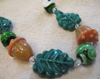Green Leaves and Brown Acorns Lampwork Glass Beads from the Woods Set of 8 Beads for Fall Theme Jewelry