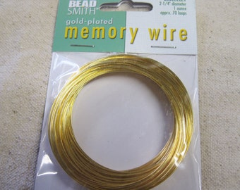 Memory Wire Gold Plated Beadsmith Bracelet 2.25 inch Diameter 1 Ounce Package 70 turns