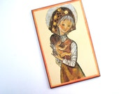 art mid century madonna and child print plaque canvas signed carina mother and baby decorative wall hanging
