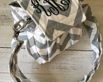 Compact Small Digital Padded Chevron Camera Bag with or without monogram