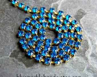 Rhinestone Chain-Crystal Rhinestones-Capri Blue-Swarovski Crystal-Vintage Swarovski Crystal Capri Blue Chain-Brass Chain-By The Foot