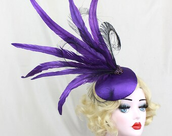 Purple Headdress - Peacock Feather Fascinator - Cocktail Hat - Showgirl Headpiece - High Fashion - Ascot Races - Kentucky Derby