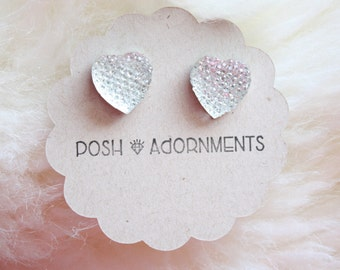 Dreamy Crystal Clear Heart Stud Earrings