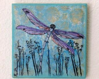 dragonfly mixed media painting art - flight 3 -  by tremundo