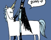 Batman on a Unicorn T-shirt Lake Blue (dark) Paul Friedrich