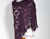 Crochet lace shawl, Plum, N297