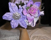 Crochet Newborn Baby Girl  0 to 2Mo.  Pill Box Hat  Violet + Fabric Flowers PHOTO PROP