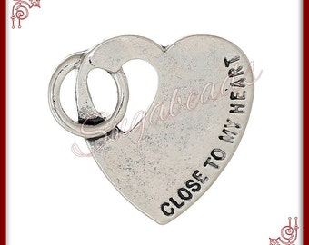 6 Stamped Heart Charms Close to my Heart -Silver Heart Charms 22mm PS32