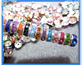 30 Mixed Silver Plated Rhinestone Rondelle Spacer Beads 8mm