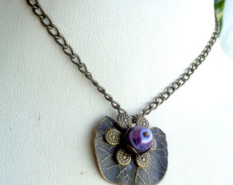 Lily Pad Necklace ,Lily Necklace, Lily Leaf Necklace, Purple Necklace Leaf Necklace SALE