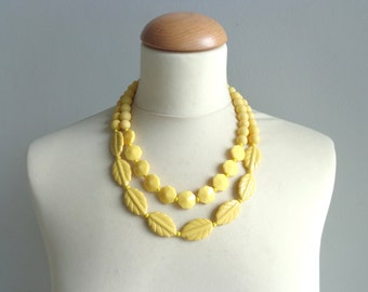chunky yellow leaf necklace double strand