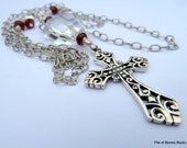 Clarity Necklace, Filigree 925 Cross, Etched Sterling Chain, Rock Crystal Quartz, Faceted Red Garnets, Sacred Spiritual Soulful Inspiration