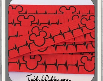 "Heart Beat Mickey Stole my heart on Red 7/8"" Grosgrain Ribbon 20 yards - TWRH"