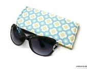 Sunglass Case or Eyeglass Case Sky Blue and White Flowers Slide in Pouch Choose Your Size