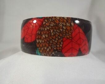 SALE BRACELET-Bird Print Cuff Bracelet, Resin, Fabric, Jewelry, Accessories (CCB99)