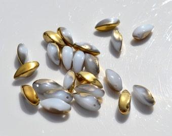 White and Brass Twisted Talon Czech Glass Beads  25