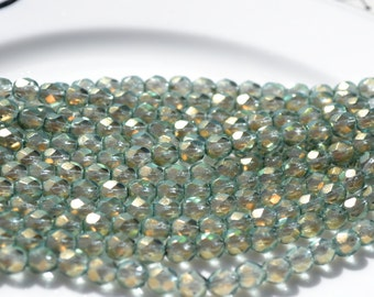 Pale Blue and Gold Halo Heavens 6mm Faceted Fire polish Round Czech Glass beads  25